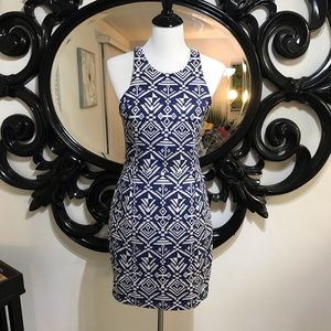 Beautiful tribal blue and cream cutout dress sizeM